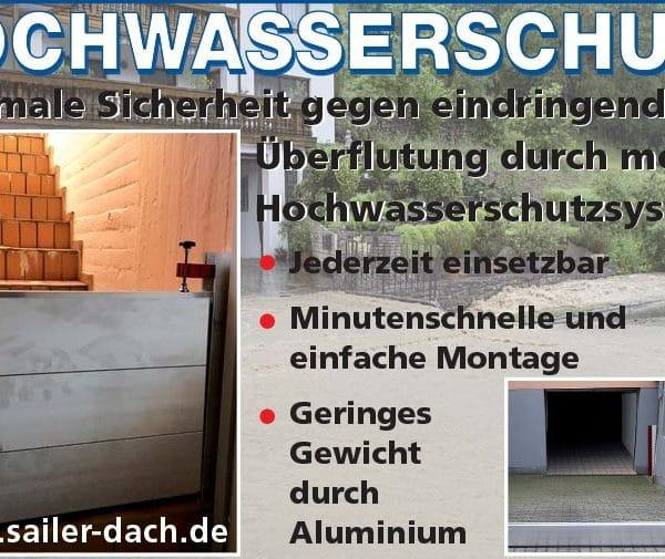 Mobiles Hochwasserschutzsystem von Dachdecker Sailer aus Hennef. Mobiler Hochwasserschutz gegen Starkregen als Hochwasserschutzwand.